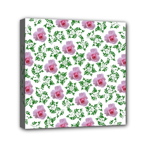 Rose Flower Pink Leaf Green Mini Canvas 6  X 6