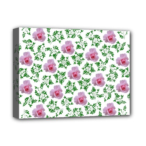 Rose Flower Pink Leaf Green Deluxe Canvas 16  X 12   by Alisyart