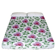 Rose Flower Pink Leaf Green Fitted Sheet (california King Size)