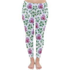 Rose Flower Pink Leaf Green Classic Winter Leggings