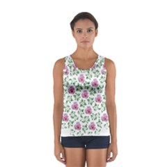 Rose Flower Pink Leaf Green Women s Sport Tank Top  by Alisyart