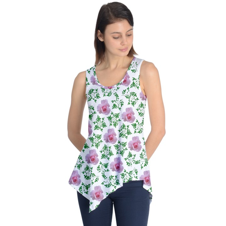 Rose Flower Pink Leaf Green Sleeveless Tunic