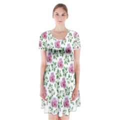 Rose Flower Pink Leaf Green Short Sleeve V Neck Flare Dress by Alisyart