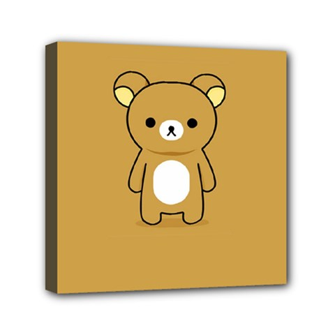 Bear Minimalist Animals Brown White Smile Face Mini Canvas 6  X 6  by Alisyart