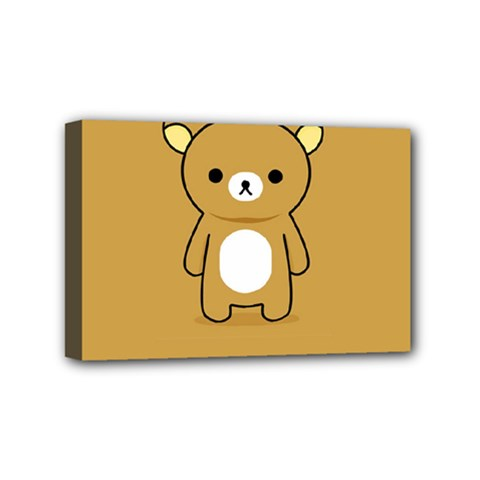 Bear Minimalist Animals Brown White Smile Face Mini Canvas 6  X 4  by Alisyart