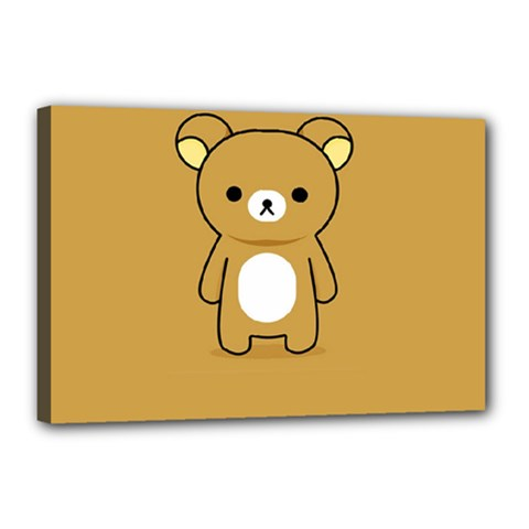 Bear Minimalist Animals Brown White Smile Face Canvas 18  X 12  by Alisyart