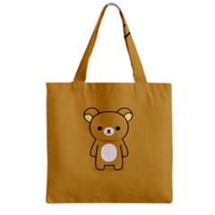 Bear Minimalist Animals Brown White Smile Face Grocery Tote Bag by Alisyart