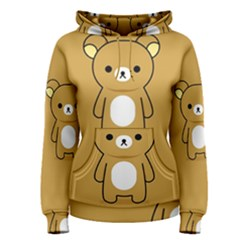 Bear Minimalist Animals Brown White Smile Face Women s Pullover Hoodie