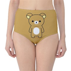 Bear Minimalist Animals Brown White Smile Face High-waist Bikini Bottoms