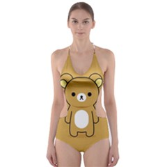 Bear Minimalist Animals Brown White Smile Face Cut Out One Piece Swimsuit