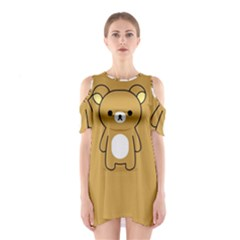 Bear Minimalist Animals Brown White Smile Face Shoulder Cutout One Piece