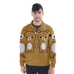 Bear Minimalist Animals Brown White Smile Face Wind Breaker (men)