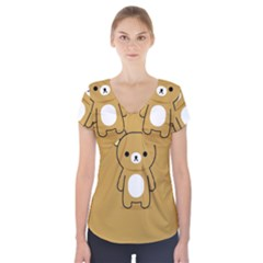 Bear Minimalist Animals Brown White Smile Face Short Sleeve Front Detail Top by Alisyart