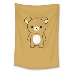 Bear Minimalist Animals Brown White Smile Face Large Tapestry by Alisyart