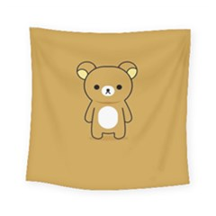 Bear Minimalist Animals Brown White Smile Face Square Tapestry (small) by Alisyart