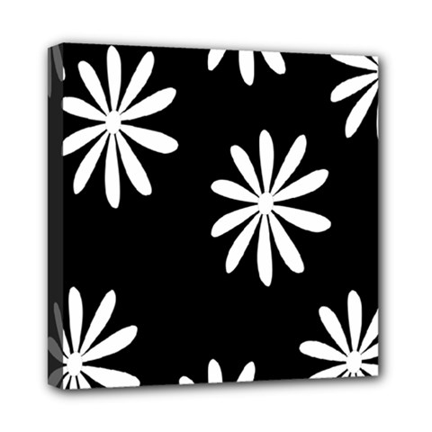 Black White Giant Flower Floral Mini Canvas 8  X 8  by Alisyart