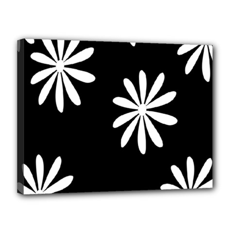 Black White Giant Flower Floral Canvas 16  X 12
