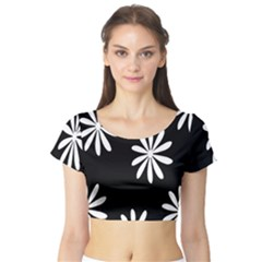 Black White Giant Flower Floral Short Sleeve Crop Top (tight Fit)
