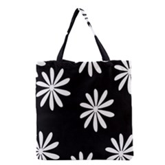 Black White Giant Flower Floral Grocery Tote Bag by Alisyart