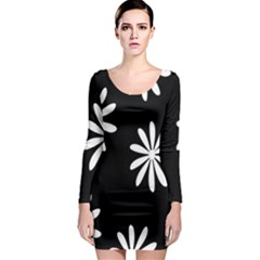 Black White Giant Flower Floral Long Sleeve Bodycon Dress by Alisyart