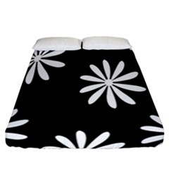 Black White Giant Flower Floral Fitted Sheet (california King Size)