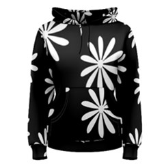 Black White Giant Flower Floral Women s Pullover Hoodie