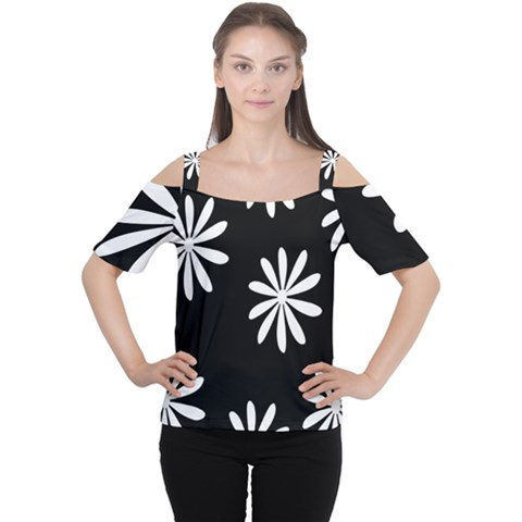 Black White Giant Flower Floral Women s Cutout Shoulder Tee by Alisyart