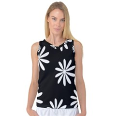 Black White Giant Flower Floral Women s Basketball Tank Top