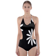 Black White Giant Flower Floral Cut Out One Piece Swimsuit