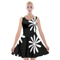 Black White Giant Flower Floral Velvet Skater Dress
