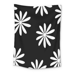 Black White Giant Flower Floral Medium Tapestry by Alisyart
