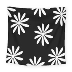 Black White Giant Flower Floral Square Tapestry (large)