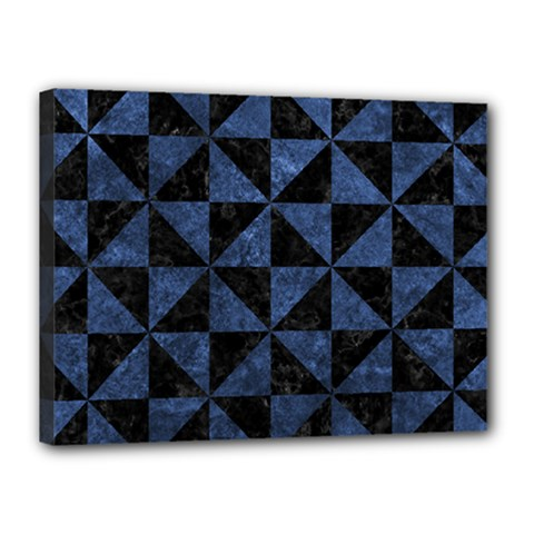 Triangle1 Black Marble & Blue Stone Canvas 16  X 12  (stretched) by trendistuff