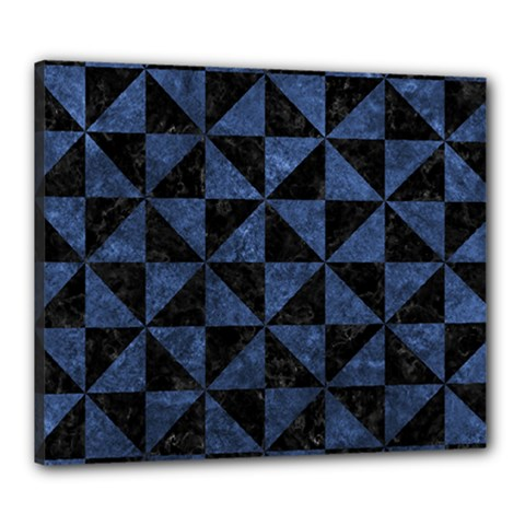 Triangle1 Black Marble & Blue Stone Canvas 24  X 20  (stretched) by trendistuff