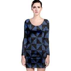 Triangle1 Black Marble & Blue Stone Long Sleeve Bodycon Dress by trendistuff