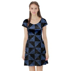 Triangle1 Black Marble & Blue Stone Short Sleeve Skater Dress by trendistuff