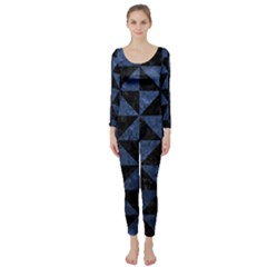 Triangle1 Black Marble & Blue Stone Long Sleeve Catsuit by trendistuff