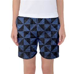Triangle1 Black Marble & Blue Stone Women s Basketball Shorts by trendistuff