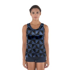 Triangle1 Black Marble & Blue Stone Sport Tank Top  by trendistuff