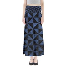 Triangle1 Black Marble & Blue Stone Full Length Maxi Skirt by trendistuff