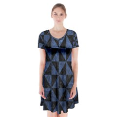 Triangle1 Black Marble & Blue Stone Short Sleeve V Neck Flare Dress by trendistuff