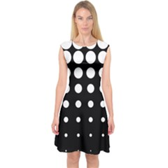 Circle Masks White Black Capsleeve Midi Dress by Alisyart