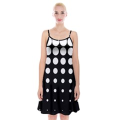 Circle Masks White Black Spaghetti Strap Velvet Dress