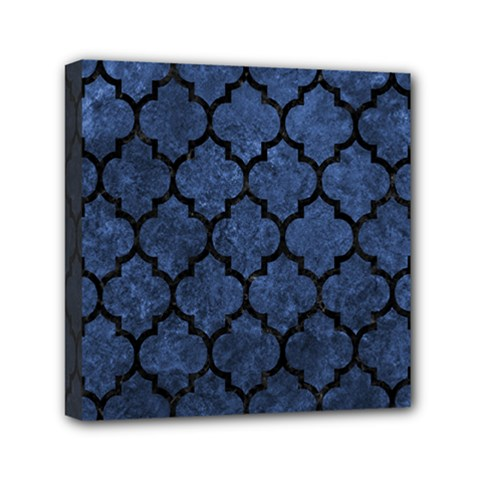 Tile1 Black Marble & Blue Stone (r) Mini Canvas 6  X 6  (stretched) by trendistuff