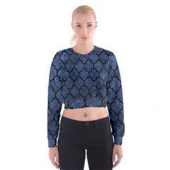 Tile1 Black Marble & Blue Stone (r) Cropped Sweatshirt by trendistuff