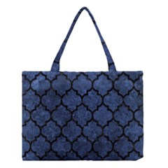 Tile1 Black Marble & Blue Stone (r) Medium Tote Bag