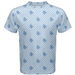 Blue Butterfly Line Animals Fly Men s Cotton Tee
