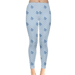 Blue Butterfly Line Animals Fly Classic Winter Leggings