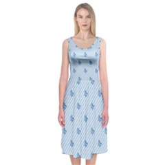 Blue Butterfly Line Animals Fly Midi Sleeveless Dress