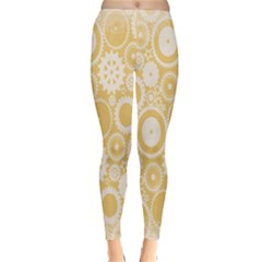 Wheels Star Gold Circle Yellow Classic Winter Leggings